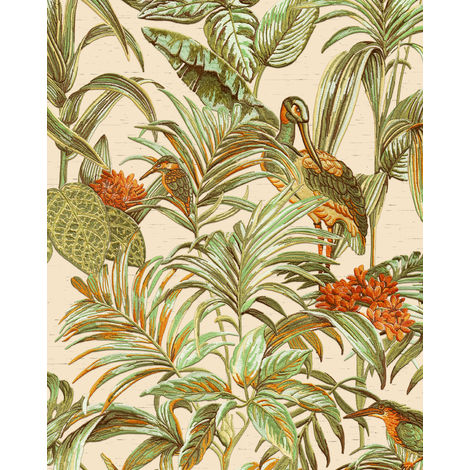 Birds wallpaper wall Profhome DE120013-DI hot embossed non-woven wallpaper embossed with exotic design shiny cream green orange 5.33 m2 (57 ft2)