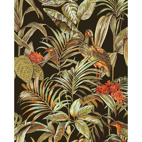 Birds wallpaper wall Profhome DE120015-DI hot embossed non-woven wallpaper embossed with exotic design shiny black green orange 5.33 m2 (57 ft2)