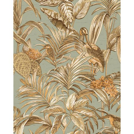 Birds wallpaper wall Profhome DE120017-DI hot embossed non-woven wallpaper embossed with exotic design shiny blue gold copper 5.33 m2 (57 ft2)