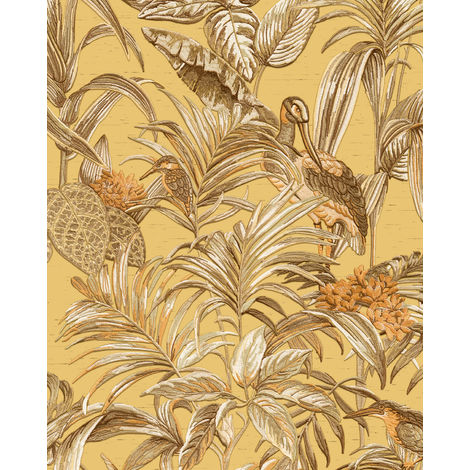 Birds wallpaper wall Profhome DE120018-DI hot embossed non-woven wallpaper embossed with exotic design shiny beige sand yellow ochre yellow copper 5.33 m2 (57 ft2)