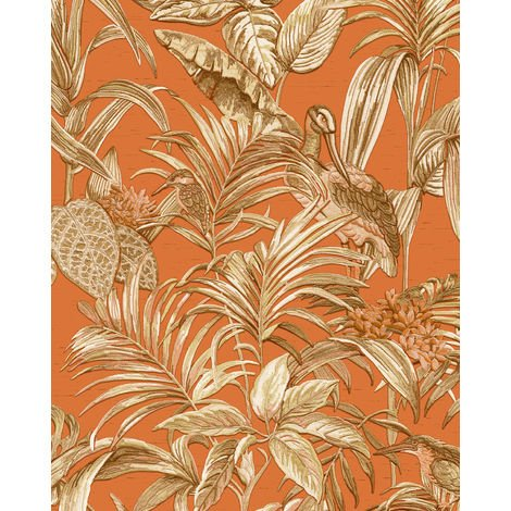 Birds wallpaper wall Profhome DE120019-DI hot embossed non-woven wallpaper embossed with exotic design shiny orange copper gold cream 5.33 m2 (57 ft2)