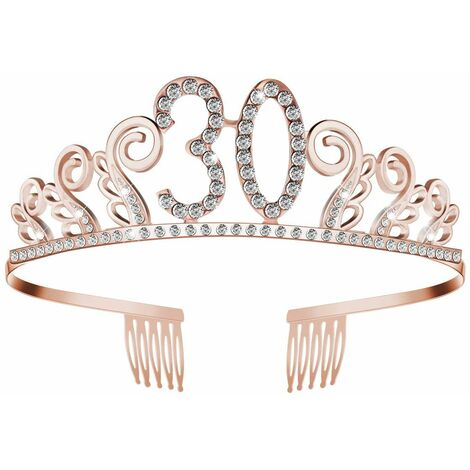 Birthday Crown Birthday Crystal Tiara Crown with It's My Birthday Sash Birthday Crown Princess Crowns Hair Accessories - For Birthday Parties or Birthday Cakes (Rose Gold)
