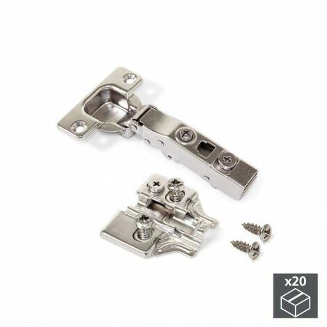 Bisagra de cazoleta, D. 35 mm, recta, apertura 100º, con suplemento Euro, 20 ud.