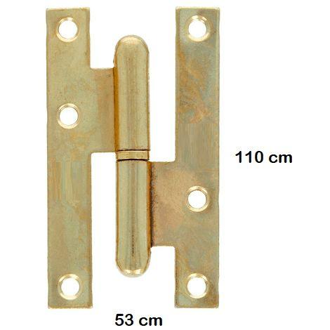 Bisagra pernio hierro 110x53 mm (2 uds) Dorado
