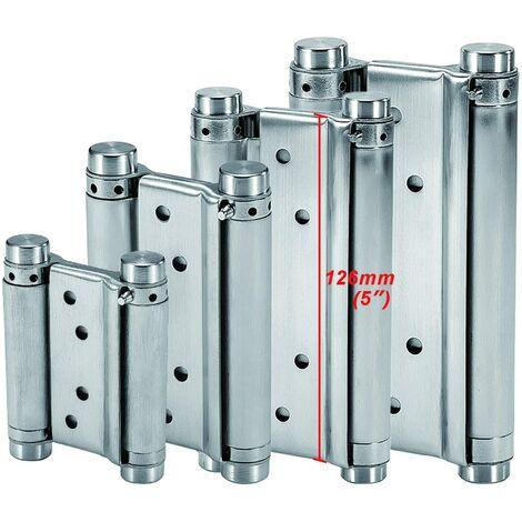 Bisagras de resorte de acero inoxidable de doble acción (126 mm) para puertas batientes Bisagra de cierre automático para salón, cafetería, bar, mostrador, puerta de armario, hasta 25 kg (2 piezas)