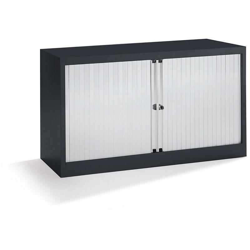 Bisley Armoire à rideaux Euro, largeur 1200 mm, 1 tablette, noir profond / gris clair   ET412/06/1S.LG-AV1 - Coloris tablette: noir graphite