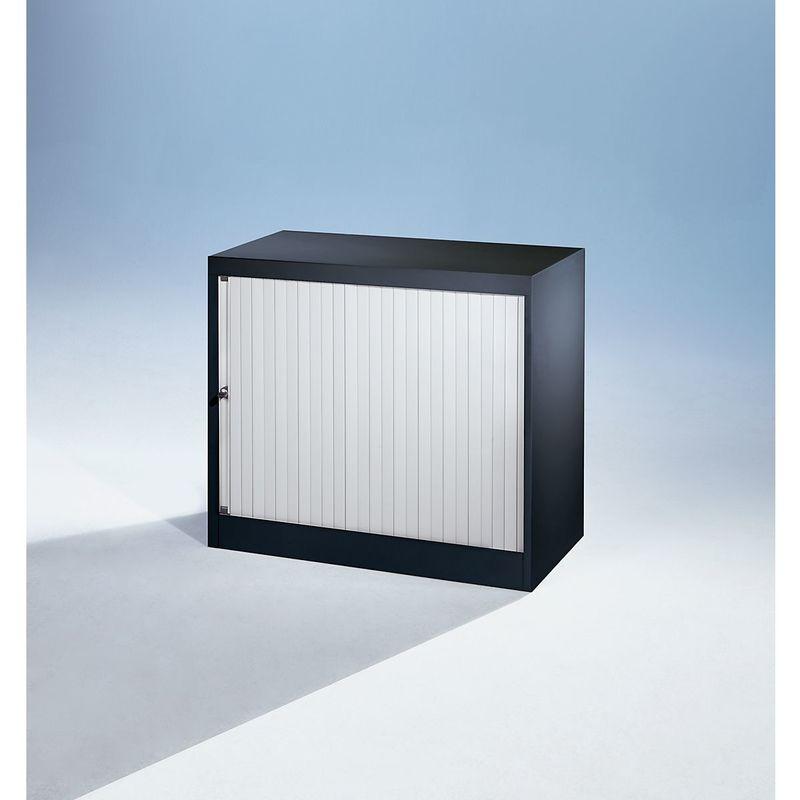 Bisley Armoire à rideaux Euro, largeur 800 mm, 1 tablette, noir profond / gris clair   ET408/06/1S.LG-AV1 - Coloris tablette: noir graphite