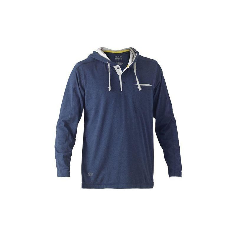 Image of Flex & Move Cotton Hooded Long Sleeved T-Shirt Large Blue Marle - Bisley