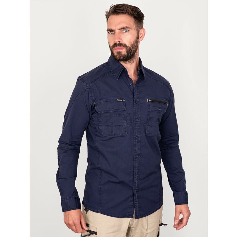 Image of Bisley Workwear Uk - Bisley Workwear Flex & Move Utility Shirt Long Sleeve - Navy - Medium