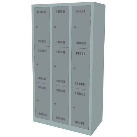 Bisley Vestiaire multicases MonoBloc™, 3 casiers par compartiment, largeur 610 mm, 2 compartiments, 6 casiers, coloris