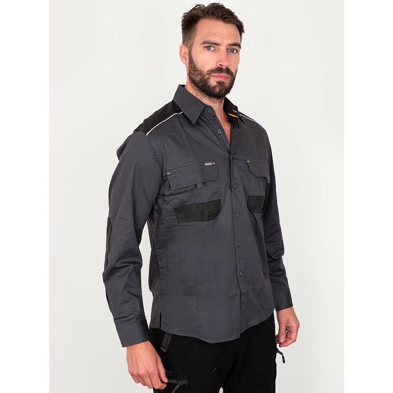 Image of Bisley Workwear Uk - Bisley Workwear Flex & Move Long Sleeve Mechanical Stretch Shirt - Charcoal - XXLarge