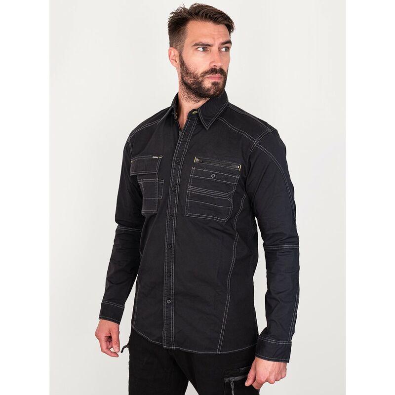 Image of Bisley Workwear Uk - Bisley Workwear Flex & Move Utility Shirt Long Sleeve - Black - Small