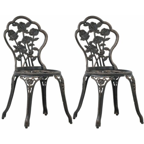 Bistro Chairs 2 pcs Bronze Cast Aluminium