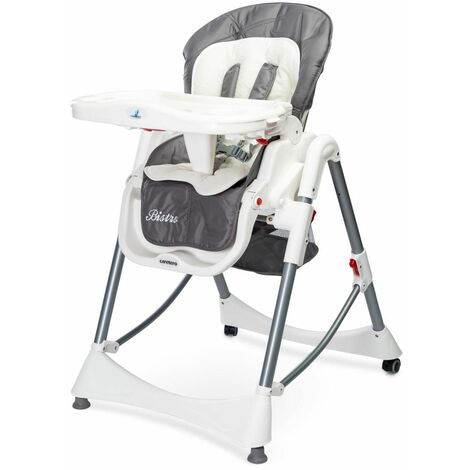 """main image of """"BISTRO - Chaise haute évolutive 2en1 + transat Bébe Enfant - Chaise repas dès 6 mois - Ajustable en hauteur - Gris"""""""