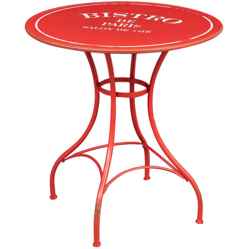 Biscottini - Bistro de Paris' iron table in antique red finish L72xPR72xH75 cm