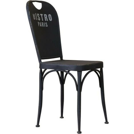 "Bistro de Paris"" shaped chair in iron with black antique finish L43xPR48x92 cm"