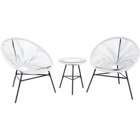 Bistro Set White ACAPULCO