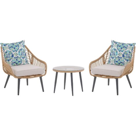 Bistro Set with Double-Sided Cushions Beige LAURETO