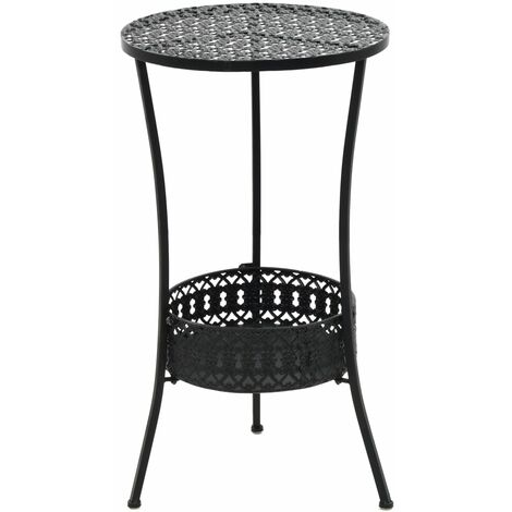 Bistro Table Black 40x70 cm Metal