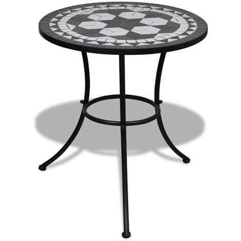 Bistro Table Black and White 60 cm Mosaic