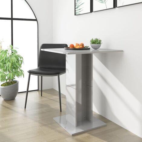 Bistro Table High Gloss Grey 60x60x75 cm Chipboard - Grey