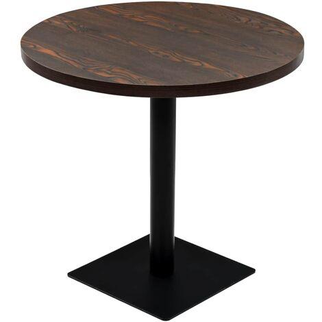 Bistro Table MDF and Steel Round 80x75 cm Dark Ash