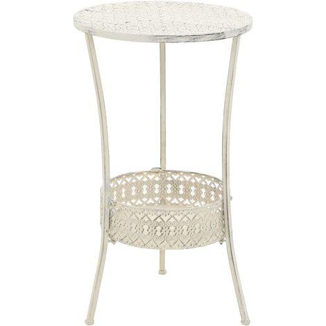 Bistro Table Vintage Style Round Metal 40x70 cm White