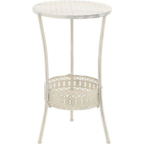 Bistro Table Vintage Style Round Metal 40x70 cm White - White