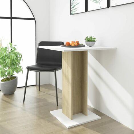 Bistro Table White and Sonoma Oak 60x60x75 cm Chipboard - Beige