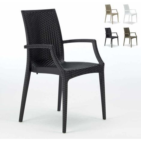 BISTROT ARM Garden Stackable Poly Rattan Armchair by Grand Soleil