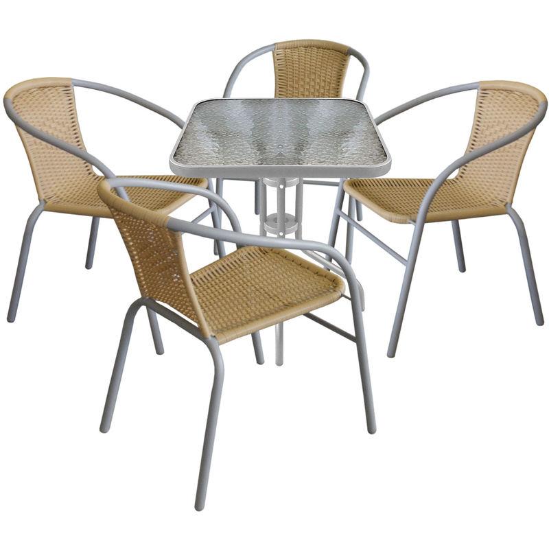 Wohaga ® - Bistrotisch Balkontisch Glastisch 60x60cm Beistelltisch Grau Gartentisch mit geriffelter Glasplatte + 4x Bistrostuhl stapelbar,