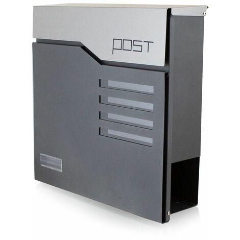 Bituxx Design Briefkasten 16444 Wandbriefkasten Postkasten Anthrazit Graphi