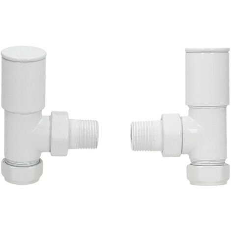 BiWorld Pair White Angled Heated Towel Rail Radiator Valves Modern Design