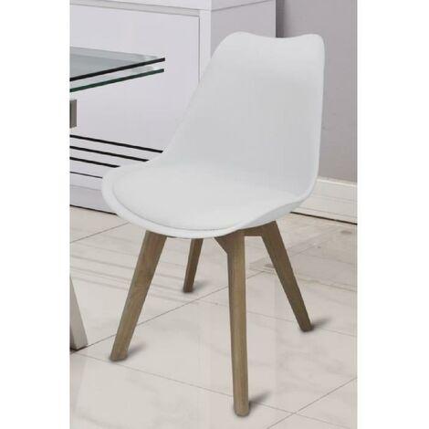 BJORN Chaise de salle a manger - Simili blanc - Scandinave - L 48.3 x P 61 cm Generique