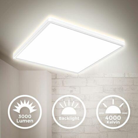B.K.Licht 22 Watt Panel LED Cuadrado I regulable I ultra plano I luz indirecta I función de memoria I lámpara de techo LED I lámpara de techo I color de luz blanca neutra I 420x420x29mm