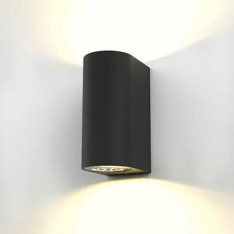 B.K.Licht - Aplique de pared con bombillas GU10 LED para interiores y exteriores de luz blanca cálida, con índice de protección IP44, 2 x 5 W, 800 lúmenes, 3000K, color negro