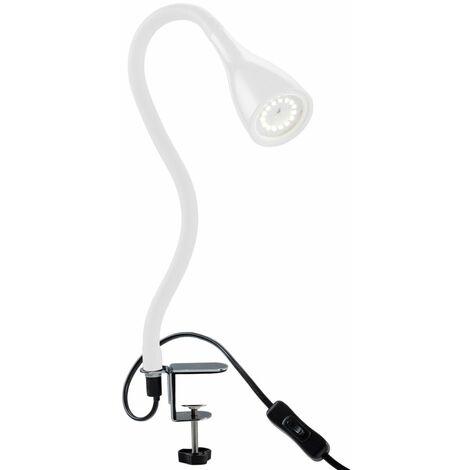 B.K.Licht - Flexo LED con pinza, para escritorio, luz de lectura con iluminación regulable de 3 niveles, 5 W, 230 V y 400 lúmenes, índice de protección IP20, color blanco