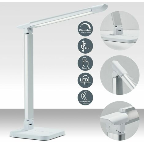 B.K.Licht - Flexo LED, conexión USB de 5V y 3 opciones de temperaturas de color de entre 3.000 y 6.500 kelvin, regulable con 11 niveles de luminosidad, 500 lúmenes, 7W, color blanco plateado