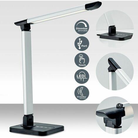 B.K.Licht - Flexo LED, conexión USB de 5V y 3 opciones de temperaturas de color de entre 3.000 y 6.500 kelvin, regulable con 11 niveles de luminosidad, 500 lúmenes, 7W, color negro plateado