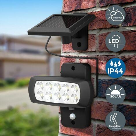 B.K.Licht Foco de exterior con panel solar y detector de movimiento y oscuridad I 6.500K I IP44 I Foco para jardin I patio y garaje