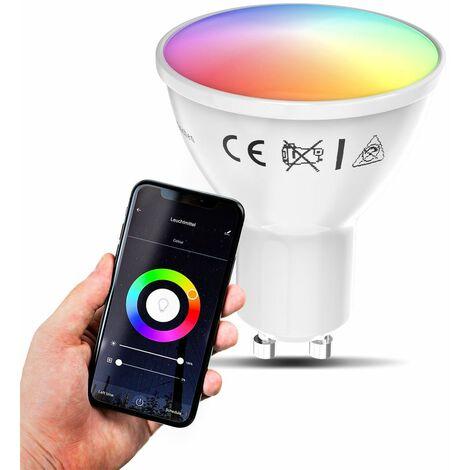 B.K.Licht I 1 LED GU10 Wi-Fi Lamp I 5.5 Watt I 350 Lumen I RGB I CCT I Dimmable I Aplicación Control de voz I Alexa Google Home I iOS y Android I Bombilla WLAN I Bombilla inteligente
