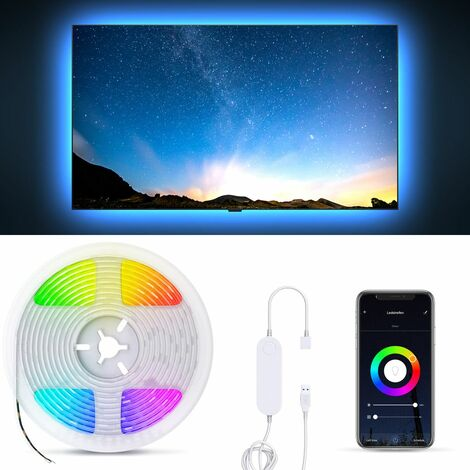 B.K.Licht I 2 Meter Smart LED Stripe I 5V USB WiFi LED Band I App controlable I Voice Control Alexa y Google Assistant I Silicone Coated I iOS & Android compatible I Autoadhesivo I Negro