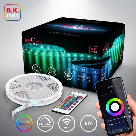 B.K.Licht I 5m Smart LED Stripe I WiFi LED Band I App controlable I Control de Voz Alexa y Google Assistant I Incl. Control Remoto I Silicone Coated I iOS & Android I Autoadhesivo I Blanco