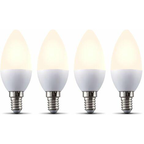 B.K.Licht I Juego de 4 lámparas LED E14 Wi-Fi I 5.5 vatios I 470 lúmenes I 2.700K Blanco cálido I Regulable I Aplicación Control de voz Alexa Google Home I iOS y Android I Bombilla inteligente