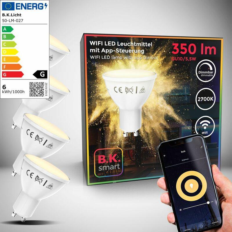 B.K.Licht I Juego de 4 LED GU10 Wi-Fi Lamp I 5.5 Watt I 350 Lumen I 2.700K Blanco cálido I Dimmable I Aplicación Control de voz Alexa Google Home I