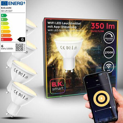 B.K.Licht I Juego de 4 LED GU10 Wi-Fi Lamp I 5.5 Watt I 350 Lumen I 2.700K Blanco cálido I Dimmable I Aplicación Control de voz Alexa Google Home I iOS y Android I Bombilla WLAN I Bombilla inteligente
