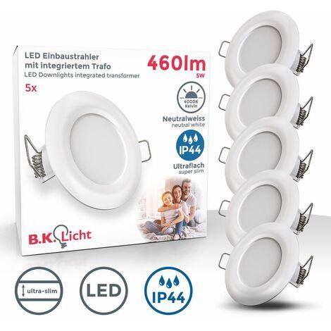 """main image of """"B.K.Licht I Juego de 5 luces LED empotradas en el baño I Ultra plano de 25mm I Ø85mm I Blanco I 5 tablas de LED de 5W I 460 lumen I 4.000K blanco neutro I IP44 I Foco empotrado"""""""