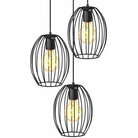 B.K.Licht I Lámpara colgante de 3 hilos de luz I Casquillo E27 I 296x1390 mm I sin bombilla I negro