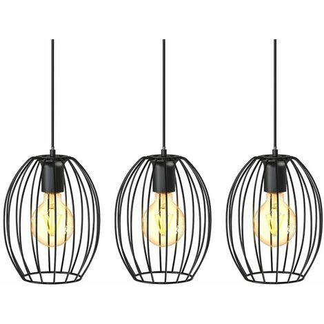B.K.Licht I Lámpara colgante de 3 luces I Casquillo E27 I 700x175x1120 mm I sin bombilla I negro
