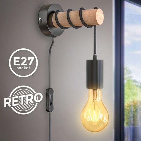 B.K.Licht I Lámpara de pared I 1 lámpara de pared de llama vintage I Diseño industrial I Lámpara retro I Acero I Madera I Redondo I E27 I sin bombilla